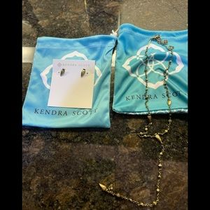 Kendra Scott antique brass necklace earrings set